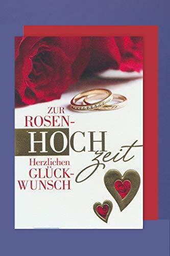 Rosen Hochzeit Karte Grußkarte Hochzeitstag 10 Jahre Goldherz 16x11cm