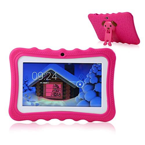 Teepao, tablet touch per bambini, tablet da 7 pollici WiFi, Android 4.4, IPS HD 1024 x 600, custodia in silicone con supporto, tablet con fotocamera