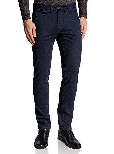 oodji Ultra Homme Pantalon Chino en Coton, Bleu, FR 42 / M