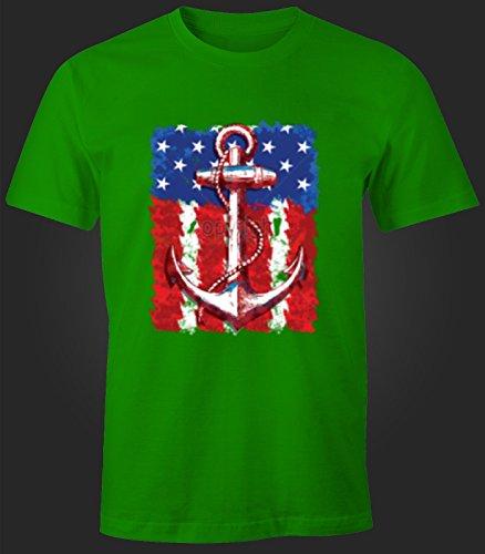 Herren T-Shirt USA Amerika Flagge mit Anker Print Druck Design Grün