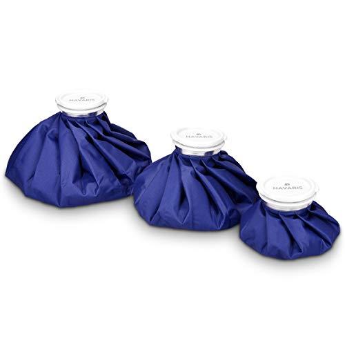 Navaris Kühlbeutel & Wärmflasche Set - 3 Größen warm und kalt - Kühlpads Eisbeutel Kältetherapie für Fuß Knie Kühlung - Kühlkissen Blau -