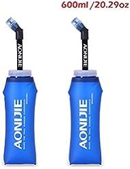 triwonder Tpu suave Running botellas de agua sin BPA, antigoteo para sistema de hidratación–Ideal para correr senderismo ciclismo - OS1518Q-600-2P, 600ml/20.29oz - Pack of 2