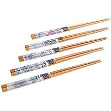 "Abacus Asiatica Basic: set palillos chinos hechos de bambú, diseño ""Paisaje chino"", (5 pares de palillos), Mod. NP-S5-GH06 (DE)"