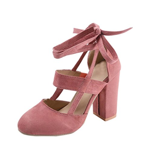 FEITONG Damen Sandalen Pumps | High Heel Schuhe | Sommer Blockabsatz Knöchelriemen Sandalen Party Kleid Pumps (EU:38=Fußlänge:231-235mm, Rosa) (Runde Mid Wedge Zehe)