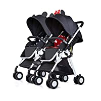Xiao ping Double Stroller Can Sit And Lie Ultra-light Folding Portable High Landscape Pocket Umbrella Child Twin Stroller ( Color : 2 )