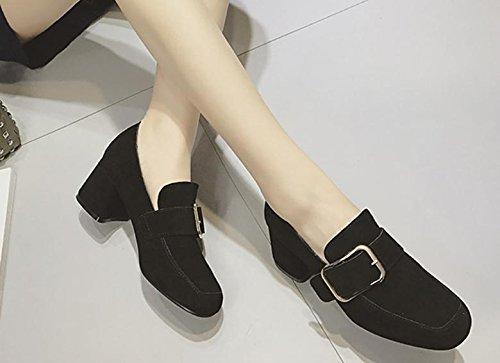 2017 chaussures simples boucles latérales de ressort femelle avec boucle en métal hauts talons de chaussures en cuir avec mat Black