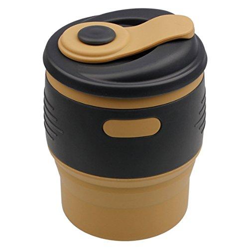 Missofsweet pieghevole in silicone Coffee mug Cup, 350ml (348,7gram) pieghevole portatile a prova di perdite bloccato coperchio pieghevole tazze da tè/tazze da viaggio per ufficio, campeggio, trekking, viaggi, escursioni, scuola, outdoor Coffee