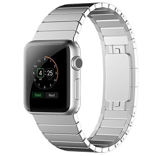 Apple Watch Armband,Sanday 42mm Edelstahl Replacement Wrist Band mit Metallschließe Strap Uhrenarmband für Apple Watch Series 3/Series 2/Series 1 Armband 42MM Silber