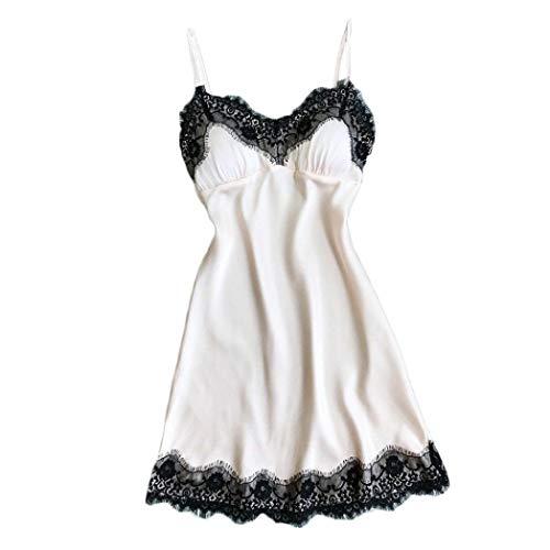 17888baf28c8 Bestow Lencer¨ªa Sexy Bata de Encaje Babydoll Ropa de Dormir Ropa de Dormir  Vestido ¨ªntimo Ropa Interior Mujeres Pijama(Blanco,L)
