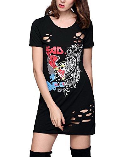 MEXI Frauen schnüren sich oben vordere kurze Hülsen beiläufiges loses T-Shirt Kleid Style-03-Schwarz