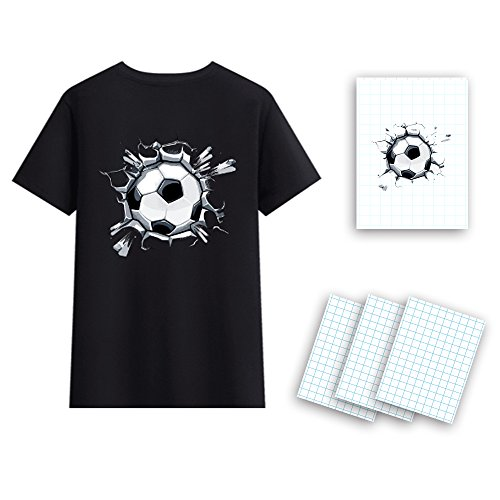 "Dark T-Shirt Transfers A4 T-Shirt Transfers Heat Transfer Sheets Paper for Inkjet Printers, for Dark Fabric 8.27"" X 11.7"" (12 Sheets) Print Iron on"