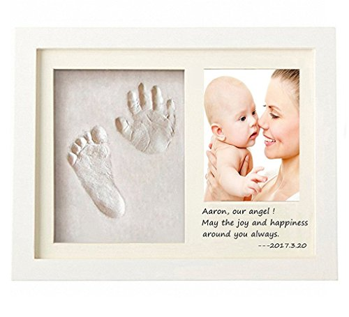Baby Bilderrahmen für Handabdruck & Fußabdruck, RoseFlower DIY Gips & Abdrucksets für Hände und Füße als Foto-Collage - Andenken Taufe Babyabdruck Babyrahmen Taufgeschenk Neugeborene Handprint #2