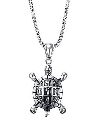 Collier Tortue - Vnox collier de sudoku en acier inoxydable,ancienne