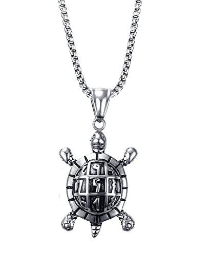 Vnox Antica collana in acciaio inox Tortoise SuDoku simpatico ciondolo monili d'argento,la catena libera