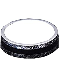 GirlZ! Silver And Black Stainless Steel Titanium Wedding Band Finger Ring For Women And Men