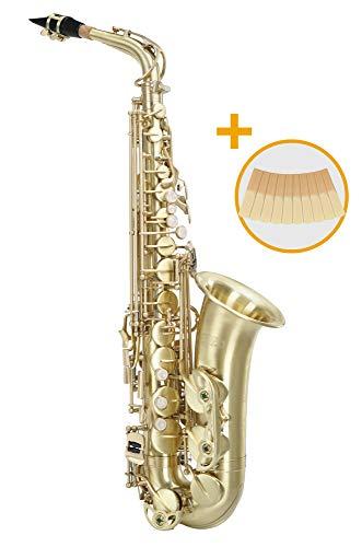 Classic Cantabile Winds AS-450 Brushed Es Altsaxophon - Es-Stimmung - Hoch-Fis-Klappe - Spar-Set inkl. 10 Stück Saxophon-Blätter