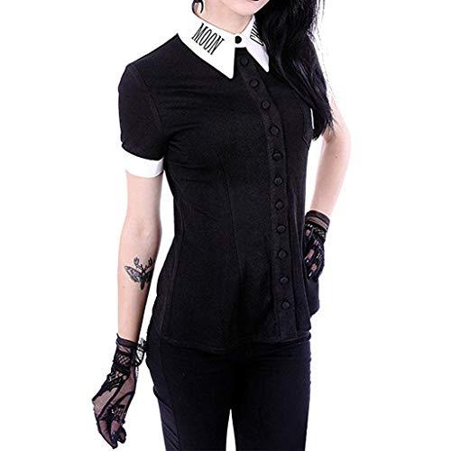 UFODB Damen Gothic Shirt Oversize S-5XL, Frauen Steampunk Stil Hemd Moon Print Punk Freizeithemd Blusenshirt Hemdblusen Sommer Bluse Shirts Damenbluse Hemdbluse Tops (Button Moon Kostüm)