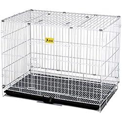 Jaula para Perros Hierro Plegable con baño Pequeño Mediano Grande Perro Ley de Peluche Lucha contra la Mascota de Keji Cachorro para Mascotas (Color : Blanco, Tamaño : 46x30x40cm)