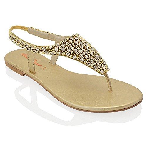 Essex Glam - Damen Zehensteg Sandalen Flip Flops Mit Strasssteine Gold