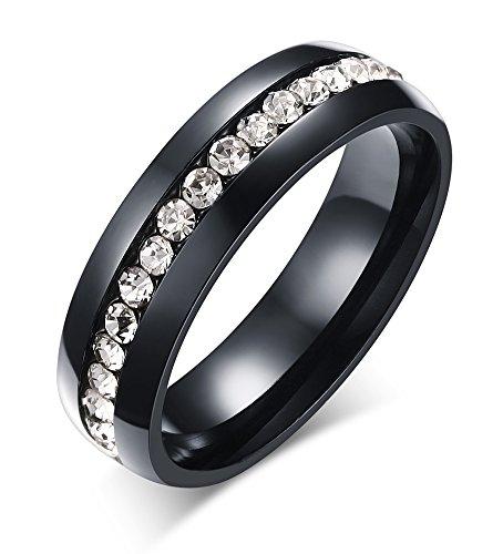 Joielavie gioielli anello da donna con zircone cubico sintetico, placcato acciaio inox, diamante sintetico, regalo di natale, di nozze, colore oro, argento, nero e nero, 56 (17.8), cod. jb17818171