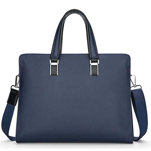 MLpus Aktentasche im europäischen Stil Herren Business Stereotypen Cross-Body Handtasche Herren Leder Travel Messenger Bag (Farbe : Blau) -