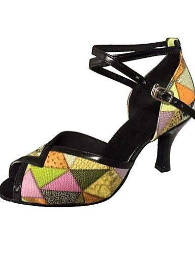 ShangYi Chaussures de danse(Jaune) -Non Personnalisables-Talon Aiguille-Similicuir-Latine / Salsa Yellow