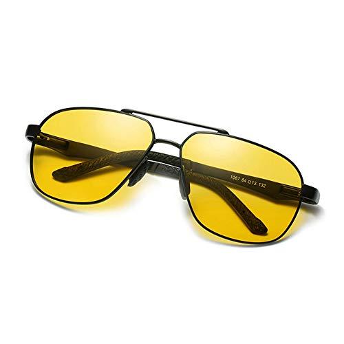 Mens Womens Aviator Polarized Sonnenbrille, Day & Night Vision Driving Glasses Anti-Glare Olive Green Gradient Yellow Lens mit komfortabierender Frühlings-Hinge UV400,BlackFrame/NightVisionLens
