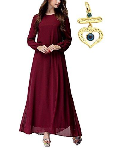 Sitengle Damen Muslim Kleid Chiffon Abend Ball Kleider Lange Maxi Dress Mit  Gürtel Lange Ärmel Rot 3b354a7ff4