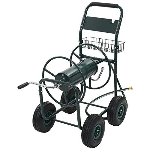 vidaXL Chariot Dévidoir pour Tuyau d'Arrosage 1/2' Acier Vert Enrouleur Jardin