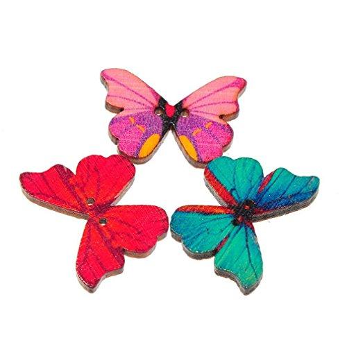 & Leisial™ 50pcs Farfalla Colorata Bottoni in Legno Dipinto e Artigianato Fatto a Mano confronta il prezzo