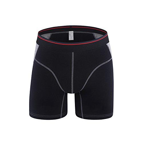 Longboxer - Youson Girl Herren Boxershorts weich und elastisch,Trunks, Herren Boxer Briefs Unterwäsche Männer Shorts (3XL=Taille100-106cm, Schwarz) (Long-boxer-unterwäsche)