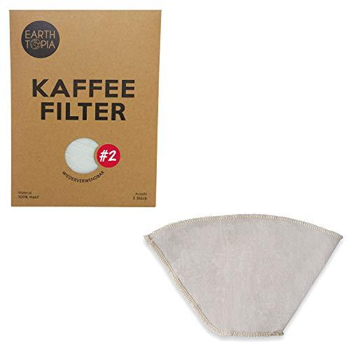 Earthtopia 3er Set Wiederverwendbare Kaffeefilter aus Stoff | 100% Hanf | Filtertüten für Kaffeemaschine und Handfilter | Permanentfilter Mehrwegfilter Dauerfilter (3 Stück, Größe 2) -