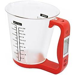 Incutex bicchiere dosatore digitale con bilancia da cucina integrata e schermo LCD, capacità max. 1kg, rosso