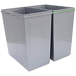 KuKoo - Poubelles Coulissantes Encastrables de 90L pour Cuisine, Poubelles de Recyclage à Deux Bacs. 49,5cm(h) x 56,5cm(l) x 48,4cm(p)