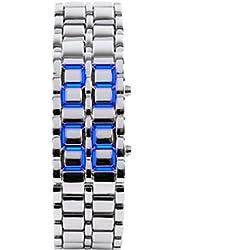 safeinu boy Blue Light silver Metal Strap Lava Style Digital LED Watch