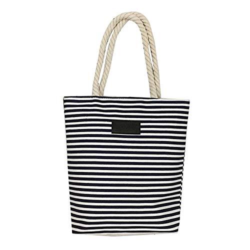 Seil Griff Tote (AxssjS Mode gestreiften leinwand Einkaufstasche Frauen Seil leichte Griff Tote Schulter Handtasche Schwarz)