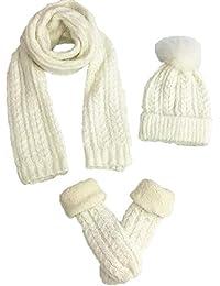 MERRYHE Guantes De Sombreros De Bufanda para Mujer Conjuntos De Tres Piezas  Mohair Engrosamiento De Tejidos 92d815fe401