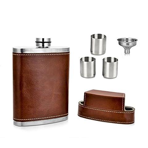 GENNISSY Pocket Flasque 8 oz avec entonnoir libre - enveloppé en acier inoxydable avec cuir et étanche 100%