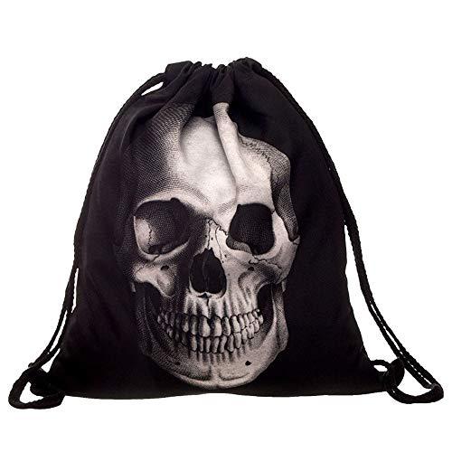 Skang Damen Rucksack Backpack Mode Wild 3D Printed Mit Bündel Kordelzug Daypacks Schüler Bag Schultaschen Messenger Handtasche (Einheitsgröße,E)