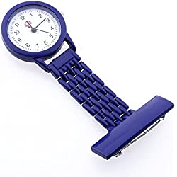 Gleader Dark Blue Quartz Movement Nurse Brooch Fob Tunic Pocket Metal Watch [Watch]
