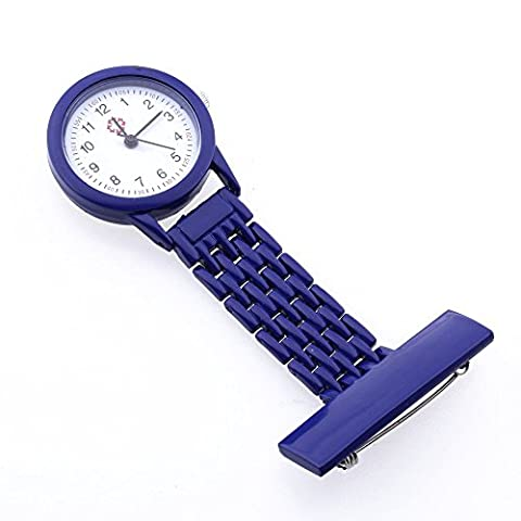 SODIAL (R)Dark Blue Quartz Movement Nurse Brooch Fob Tunic Pocket Metal Watch [Watch]