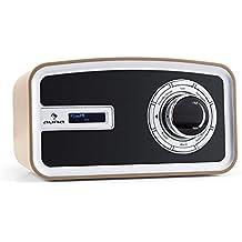auna Sheffield Radio digital retro DAB+ FM (Función RDS, altavoz banda ancha, despertador, sintonizador analógico, pantalla LCD, alarma dual, apto funcionamiento pila, diseño vintage mocca)