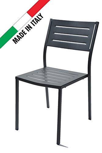 RD ITALIA Stuhl stapelbar Design modern aus Metall Eisen-Outdoor Garten Terrasse Patio Bar Restaurant -
