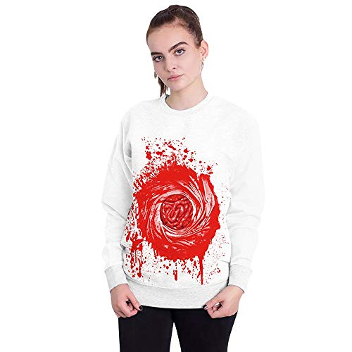 VEMOW Herbst Frühling Damen Scary Halloween Blutverband 3D Print Party Casual Cosplay Top Caps Sweatshirt Pulli(Weiß, EU-46/CN-XL)