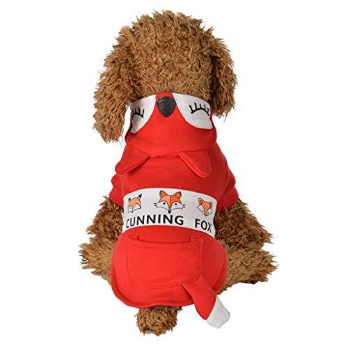 Hunde Der Kostüm Und Fuchs - Blaue Haustierkleidung Brustgurt,Katzen Hunde Kleidung Fuchs Kostüm Cospaly,Plüsch Lätzchen,Trägerhose,Dicker Weste Sweatshirt Mantel,Warme Glieder Pullover (M, Rot)