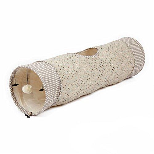 Katzentunnel Rascheltunnel aus Baumwolle, Katzenspielzeug mit Ball, hochwertig, tolles Design