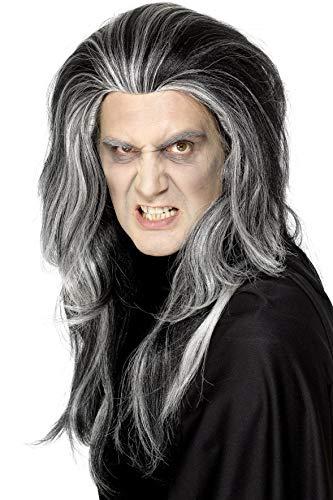 Smiffys 29938 Gothic Vampirperücke, Einheitsgröße, schwarz