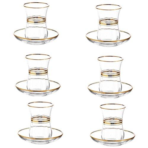 Lot de 12Cay Bardagi - Lot de 6 verres à thé turcs avec soucoupes - Série Gold - Capacité de 115 ml - En verre de qualité supérieure