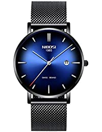 5370fb65a652 Relojes para Hombres Reloj de los Hombres Impermeable Negocio Moda Deportes  Exterior Malla metálica Correa de