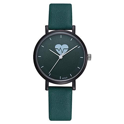 Fulltime Montres de Mode Occasionnels Quartz Horloge Bracelet Horloge Bracelet en Cuir pour Femmes Dames (Vert)